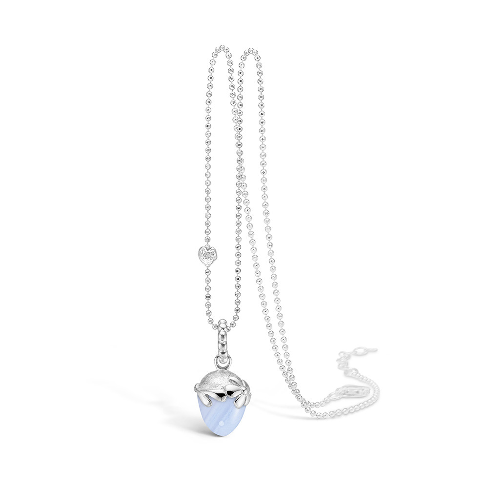 Blossom Silver Blue Lace Necklace