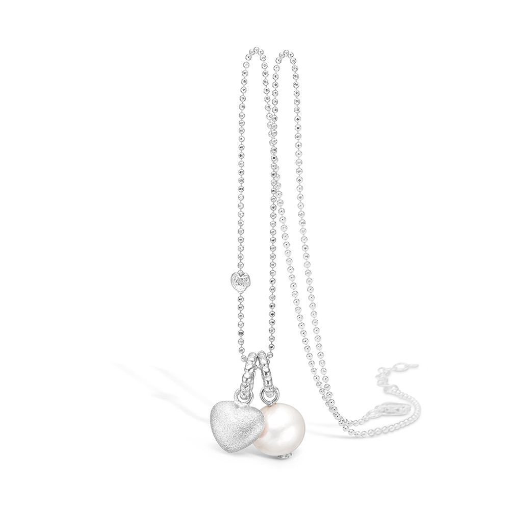 Blossom Silver Heart and Pearl Necklace