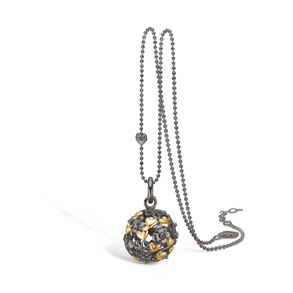 Blossom Black and Gold Heart Ball Necklace