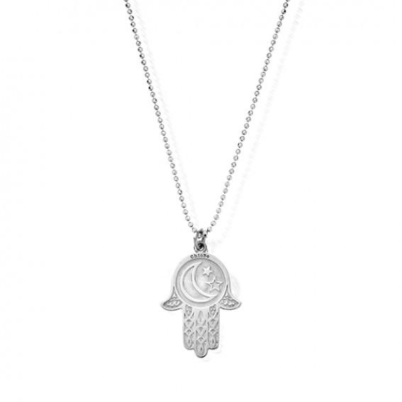 Chlobo Diamond Cut Chain with Moon and Star Hamsa Hand Pendant